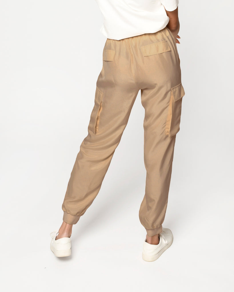 CP18845 - SOLID SILK JOGGER - bottoms - pants - Crafted from 100% silk, these lightweight joggers are perfect from transitioning from home to street. Add 1 line break Stylist Tip: Style with our silk t-shirt for a coordinating set. Alternate View