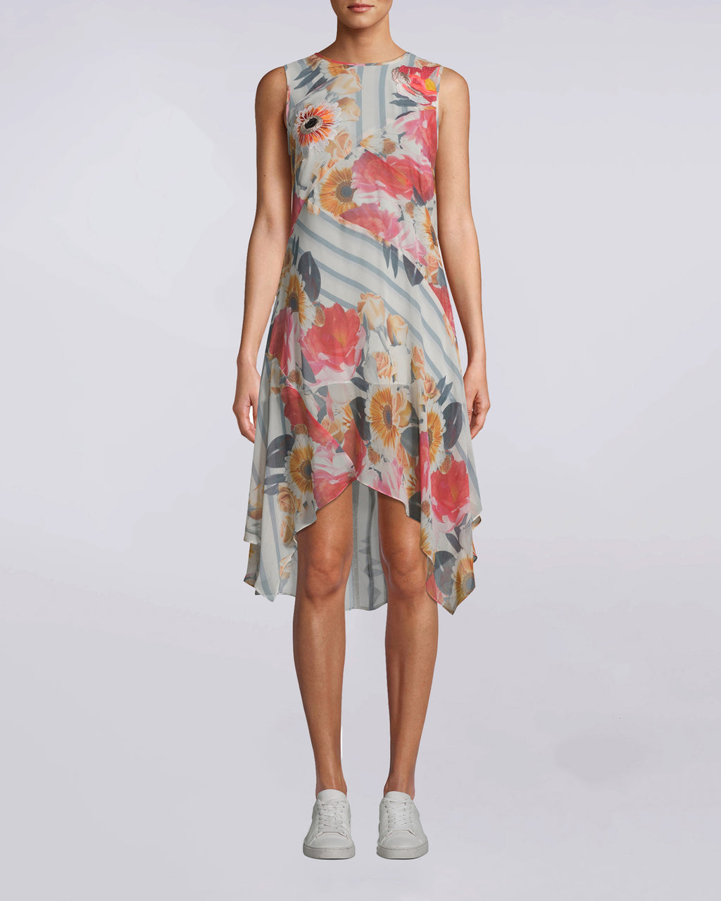 CS10007 - Embroidered Floral Stripe Handkerchief Dress - dresses - short - Optimum for any summer situation. Flowery and feminine, this embroidered dress has a comfortable, flowy fit while still delivering chic. Attached slip, exposed back zipper.
