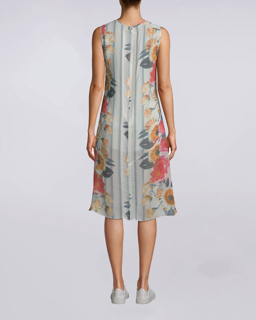 CS10007 - Embroidered Floral Stripe Handkerchief Dress - dresses - short - Optimum for any summer situation. Flowery and feminine, this embroidered dress has a comfortable, flowy fit while still delivering chic. Attached slip, exposed back zipper. Alternate View