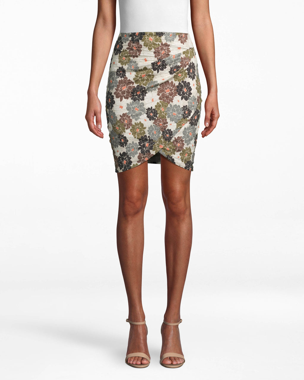 CS17985 - CAMO DELILAH COTTON METAL FAUX WRAP SKIRT - bottoms - skirts - DESIGNED IN OUR SIGNATURE COTTON METAL, THIS PRINTED MINI SKIRT FEATURES A FLATTERING FAUX WRAP FRONT. THIS FITTED STYLE HITS JUST ABOVE THE KNEE AND HAS A BACK ZIPPER FOR CLOSURE. Add 1 line break STYLIST TIP: WEAR WITH A WHITE TOP AND WHITE SNEAKERS FOR A CASUAL BUT COOL LOOK.