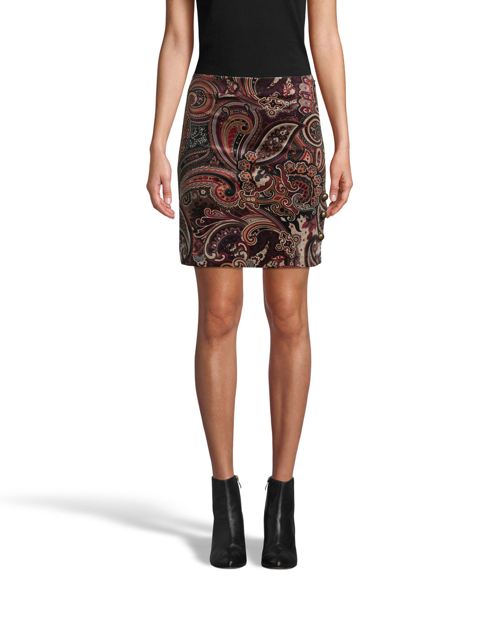 CS18144 - PAISLEY VELVETEEN MINI SKIRT - bottoms - skirts - This classic mini skirt silhoeutte gets an update in velvet paisley. This sophisticated style has a concealed side zipper for closure. Add 1 line break Stylist tip: Pair with tights and black boots for colder fall months.