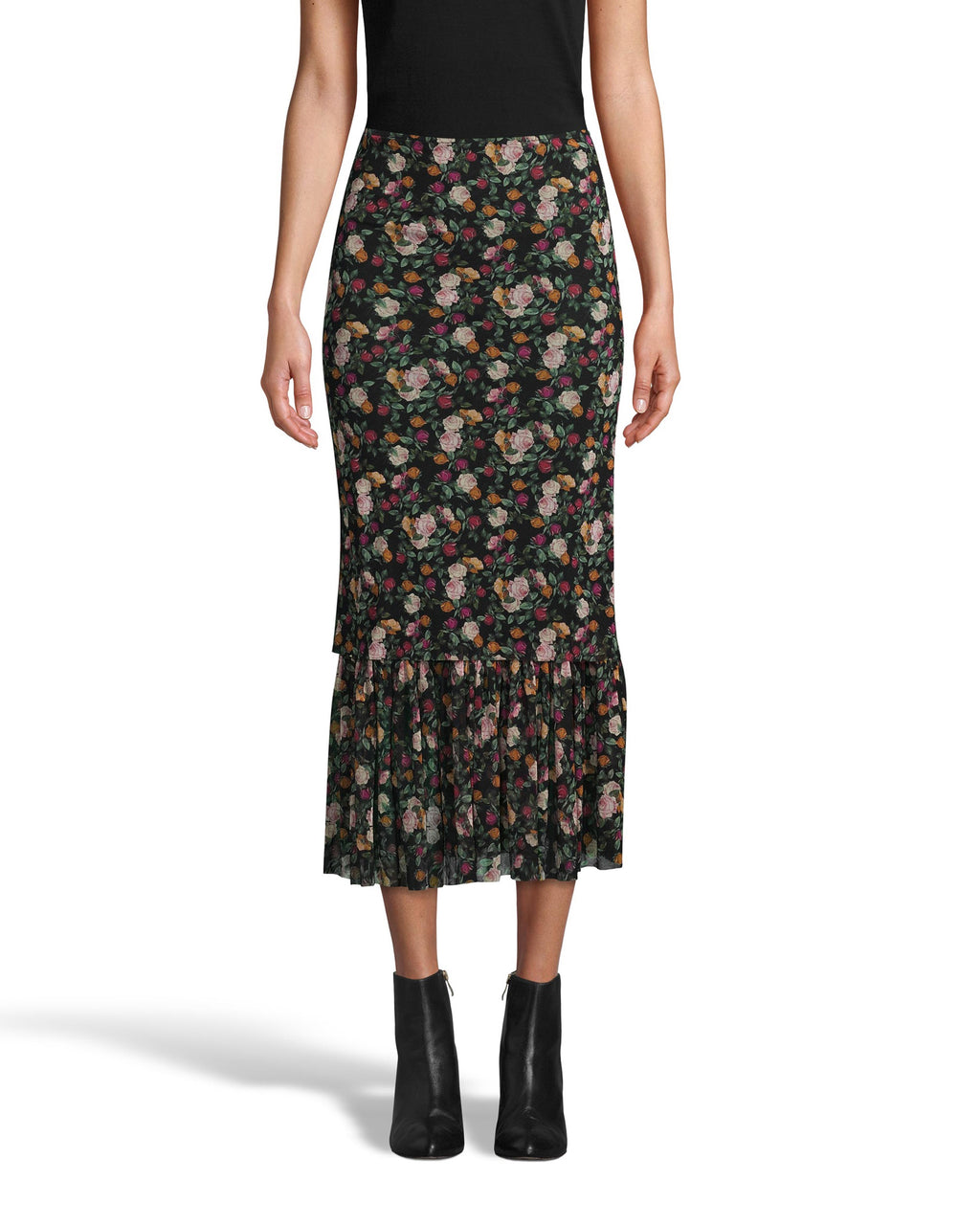 CS18198 - PRINTED MESH MIDI SKIRT - bottoms - skirts - This easy, pull on midi skirt is multilayered with rose printed mesh and features a tiered ruffle hem. This fall favorite style perfectly transitions from warmer to cooler fall days. Add 1 line break Stylist tip: Style with white sneakers and a chunky oversized sweater.