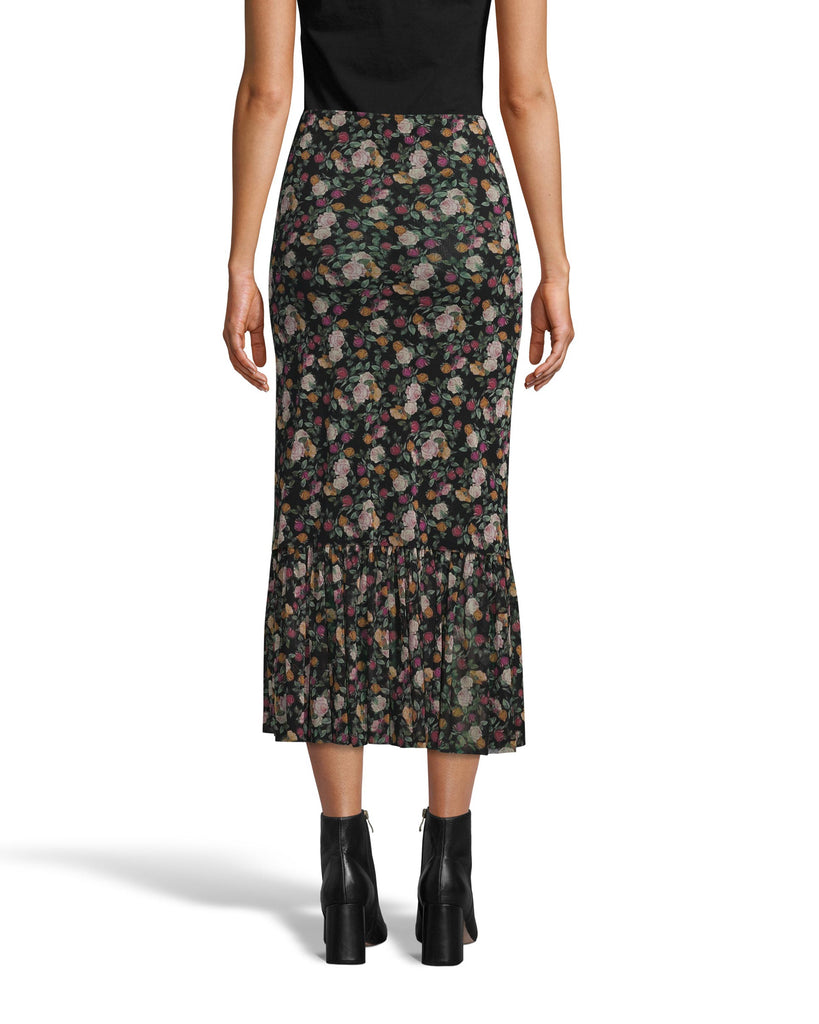 CS18198 - PRINTED MESH MIDI SKIRT - bottoms - skirts - This easy, pull on midi skirt is multilayered with rose printed mesh and features a tiered ruffle hem. This fall favorite style perfectly transitions from warmer to cooler fall days. Add 1 line break Stylist tip: Style with white sneakers and a chunky oversized sweater. Alternate View