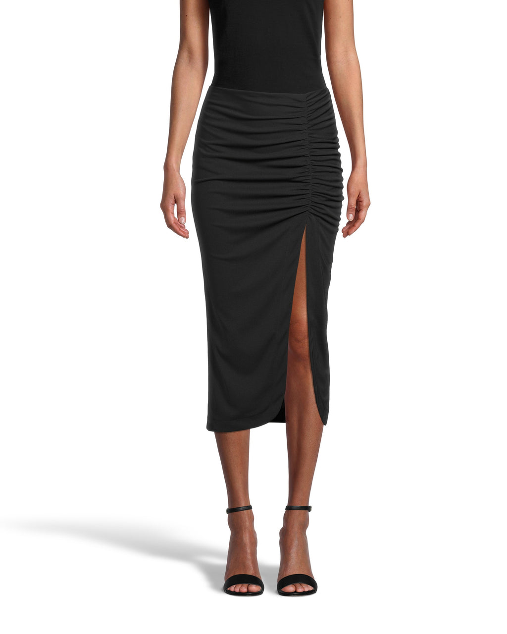 CS18481 - RUCHED MIDI SKIRT - bottoms - skirts - This on trend midi skirt effortlessly transitions season to season. Crafted from heavy jersey material, this ultra flattering piece hugs your curves and features ruching and a side slit. Add 1 line break Stylist Tip: Pair with a cashmere sweater in the winter and a lightweight cami in the spring.