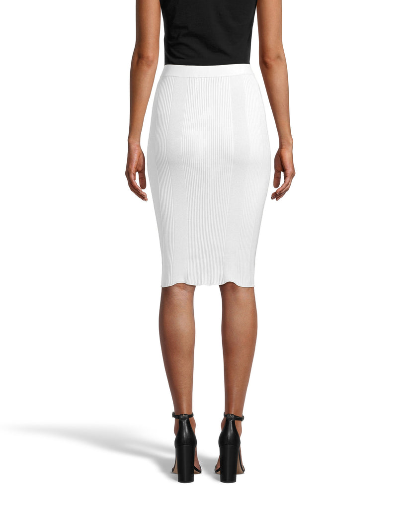 CS18566 - KNIT PENCIL SKIRT - bottoms - skirts - Designed in a super soft ribbed fabrication, this pencil skirt hugs and flatters your curves for a classic and flattering effect. This pull on piece is easy yet elevated and hits just above the knee for a full coverage fit. Add 1 line break Stylist tip: Pair with one of our printed button downs for a professional yet stylish look. Alternate View