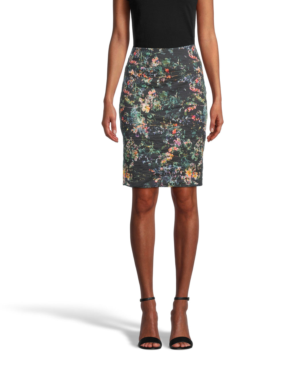 CS18570 - MOONLIT GARDEN NINA SKIRT - bottoms - skirts - Our Nina skirt is one of our best selling styles for its simplicity yet chicness. Designed in a classic pencil skirt silhouette, this mini skirt is updated for our holiday collection in our new moonlit garden print. The cotton metal fabrication hugs your curves and has a slight shine to it for an even more flattering effect. Add 1 line break Stylist tip: Pair with knee high black boots.