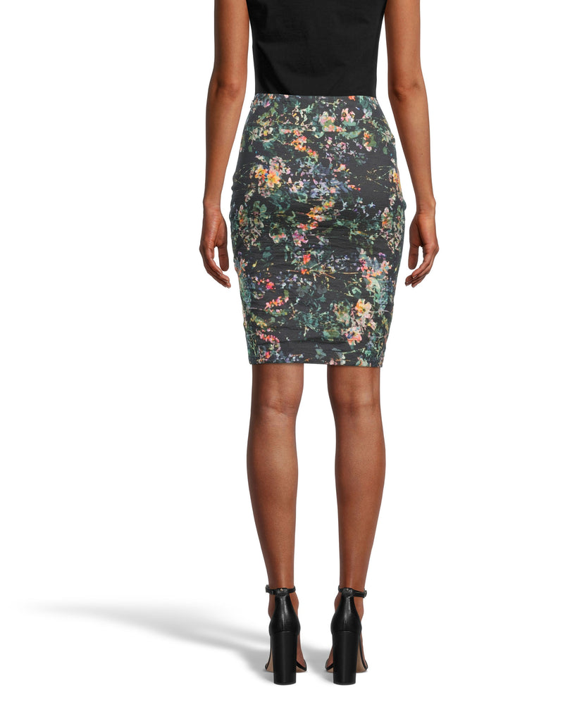 CS18570 - MOONLIT GARDEN NINA SKIRT - bottoms - skirts - Our Nina skirt is one of our best selling styles for its simplicity yet chicness. Designed in a classic pencil skirt silhouette, this mini skirt is updated for our holiday collection in our new moonlit garden print. The cotton metal fabrication hugs your curves and has a slight shine to it for an even more flattering effect. Add 1 line break Stylist tip: Pair with knee high black boots. Alternate View