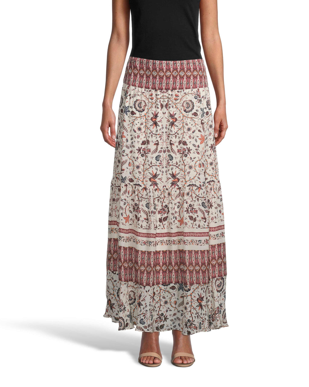 CS18687 - JAKARTA PRINT MAXI SKIRT - bottoms - skirts - Boho chic at it's finest, this ankle length maxi skirt is designed in our bold jakarta print in lightweight silk. The contrasting prints are the perfect added detail to this classic silhouette. Add 1 line break Stylist Tip: Pair with one of our cashmere sweaters or a white tee.