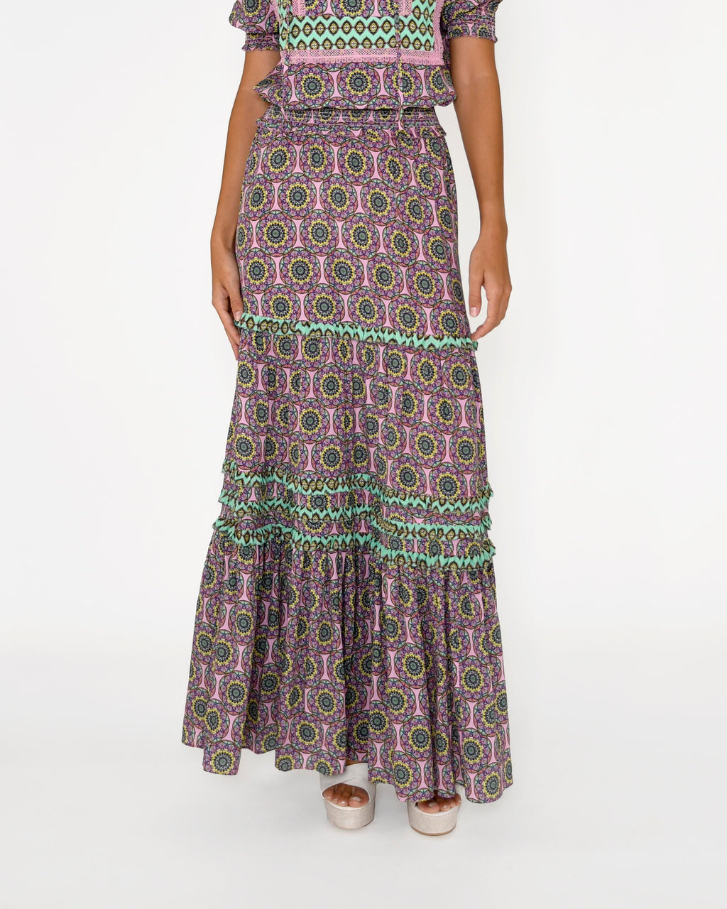 CS18703 - GLASSFLOWER MAXI SKIRT - bottoms - skirts - Our glassflower maxi skirt features our new bold print, a smocked waist and tiered ruffles throughout. Add 1 line break Stylist Tip: Pair with strappy sandals.