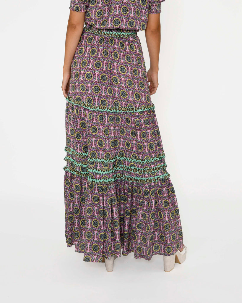 CS18703 - GLASSFLOWER MAXI SKIRT - bottoms - skirts - Our glassflower maxi skirt features our new bold print, a smocked waist and tiered ruffles throughout. Add 1 line break Stylist Tip: Pair with strappy sandals. Alternate View