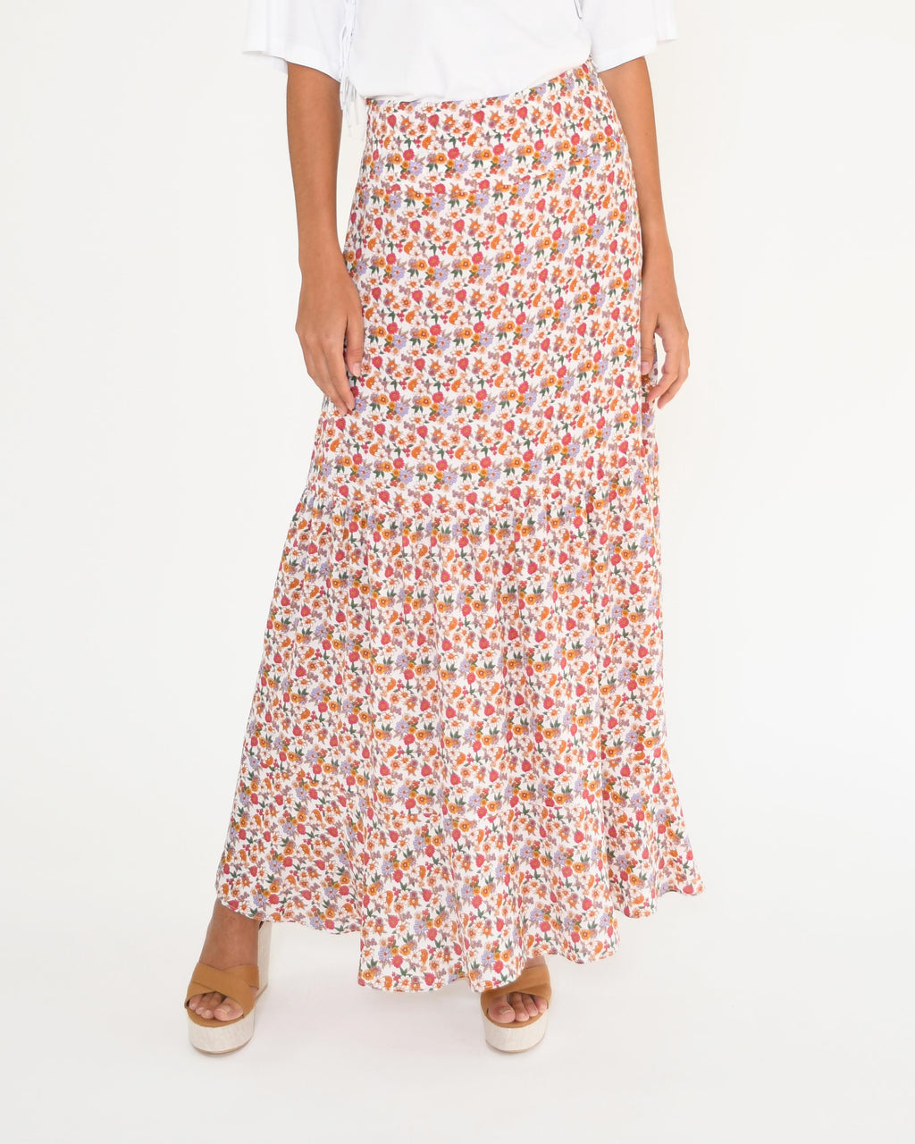 CS18931 - SUNSHINE PARADISE MAXI SKIRT - bottoms - skirts - This ankle length maxi skirt features our bold sunshine paradise print throughout. This stunning skirt features a smocked waist and is crafted from lightweight cotton. Add 1 line break Stylist Tip: Style with strappy sandals.