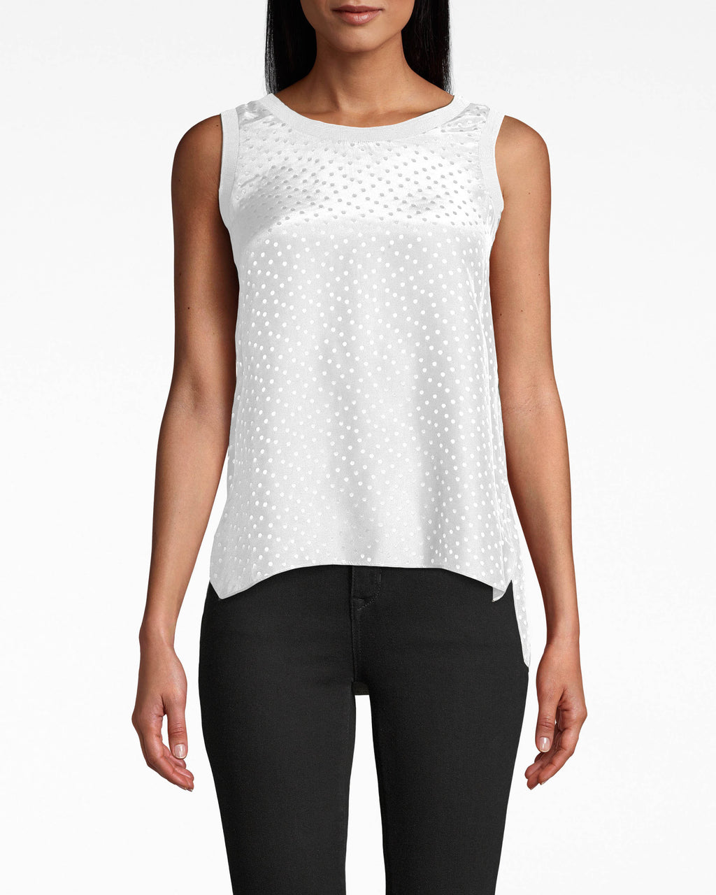 CT17896 - POLKA DOT JACQUARD TANK TOP - tops - shirts - THIS DELICATE TANK IS PERFECT FOR BACKYARD BBQ'S AND LOUNGING ON THE COUCH ALIKE. WITH BRA FRIENDLY STRAPS AND POLKA DOT DETAIL THROUGHOUT. Add 1 line break STYLIST TIP: WEAR WITH DENIM CUTOFFS AND YOUR FAVORITE SUMMER SHOES.