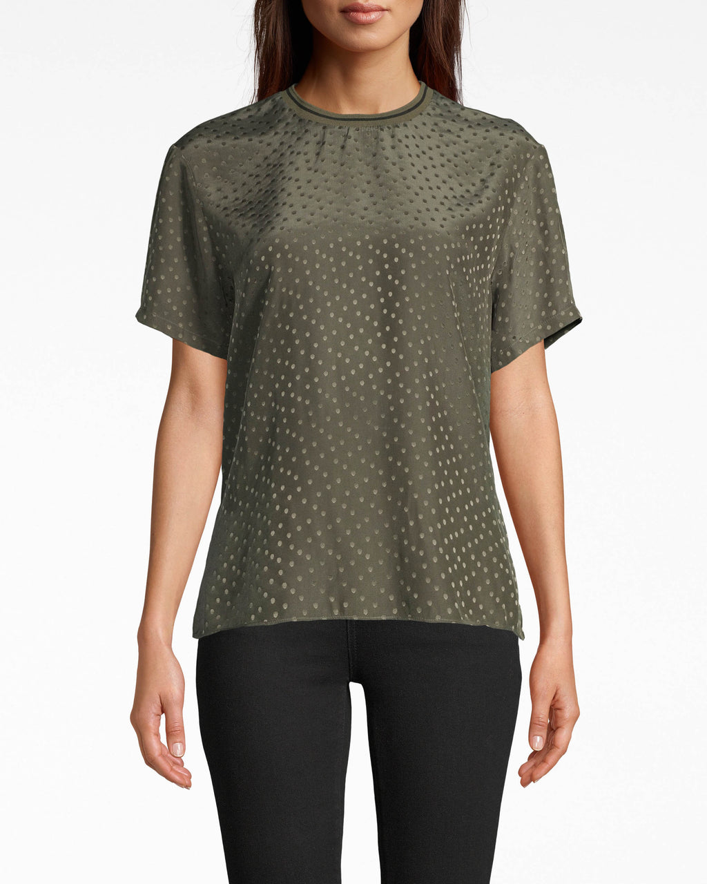 CT17938 - POLKA DOT JACQUARD T-SHIRT - tops - shirts - THIS LIGHTWEIGHT JACQUARD T-SHIRT WILL BE ON ROTATION ALL SUMMER LONG. FEATURING A SLIGHT HIGH LOW HEM, POLKA DOT DETAILS THROUGHOUT, AND A SPORTY STRIPED COLLAR. Add 1 line break STYLIST TIP: PAIR WITH DENIM AND SLIDES.