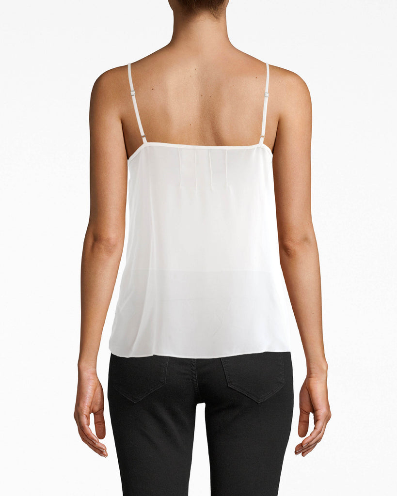 CT17955 - LACE TRIM SILK CAMI - tops - shirts - OUR LACE TRIM SILK CAMI IS A TRUE WARDROBE ESSENTIAL. THIS SUPER LIGHTWEIGHT PIECE HAS A LACE TRIM WITH ADJUSTABLE STRAPS. BUTTONED AND PLEATED FRONT FOR ADDED TEXTURE. Add 1 line break STYLIST TIP: THE OPTIONS ARE ENDLESS. WEAR WITH PATTERNED BOTTOMS, TUCK INTO YOUR FAVORITE DENIM OR THROW ON A LEATHER JACKET FOR A NIGHT OUT. Alternate View