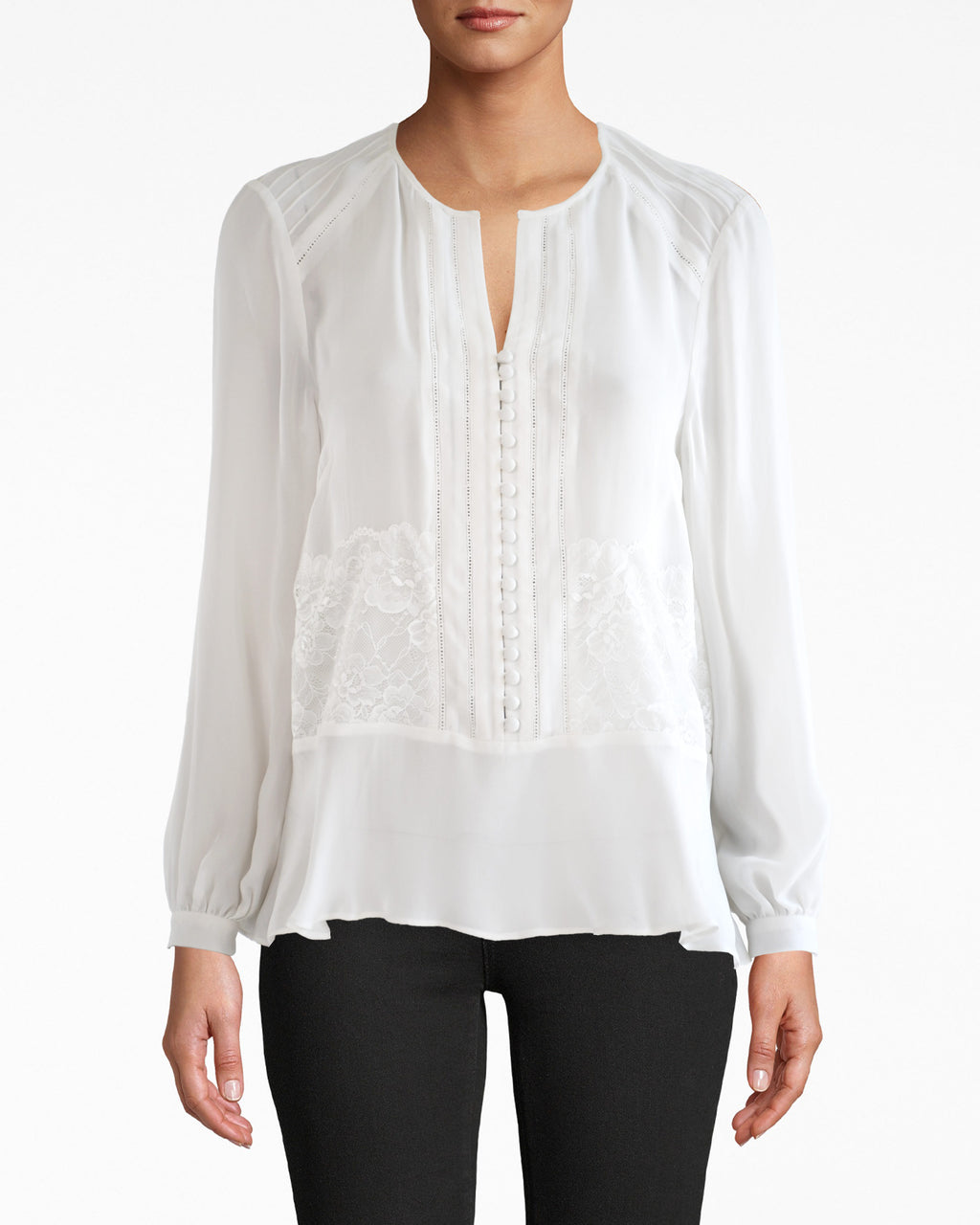 CT17980 - LONG SLEEVE LACE SILK BLOUSE - tops - blouses - AIRY SILK AND LACE DETAILS MAKE THIS FEMININE PIECE AN EASY GO-TO. FEATURES A V NECK, BUTTON FRONT AND CINCHED SLEEVES AT THE WRIST. Add 1 line break STYLIST TIP: WEAR WITH YOUR FAVORITE JEANS AND BOLD EARRINGS.