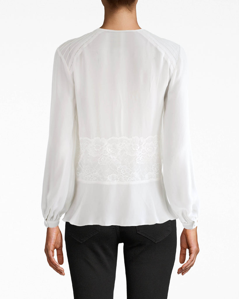 CT17980 - LONG SLEEVE LACE SILK BLOUSE - tops - blouses - AIRY SILK AND LACE DETAILS MAKE THIS FEMININE PIECE AN EASY GO-TO. FEATURES A V NECK, BUTTON FRONT AND CINCHED SLEEVES AT THE WRIST. Add 1 line break STYLIST TIP: WEAR WITH YOUR FAVORITE JEANS AND BOLD EARRINGS. Alternate View
