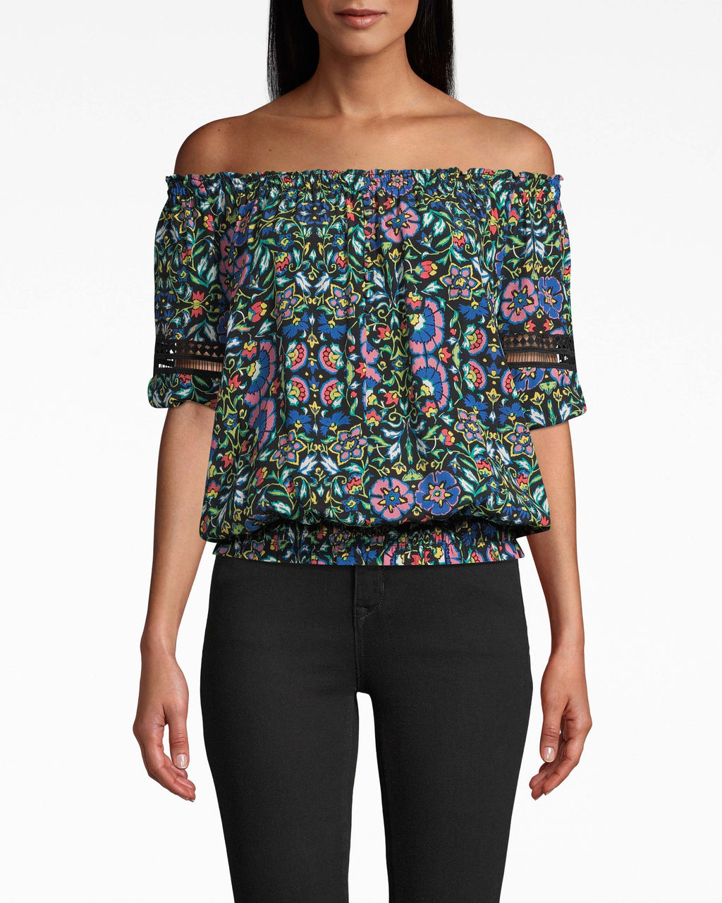CT17984 - MOSAIC SILK OFF THE SHOULDER SMOCKED TOP - tops - shirts - DESIGNED IN OUR NEW MOSAIC PRINT, THIS CLASSIC OFF THE SHOULDER TOP HAS LACE TRIM ON THE SLEEVES AND A SMOCKED WAISTLINE. MADE FROM LIGHTWEIGHT SILK. Add 1 line break STYLIST TIP: WEAR WITH LIGHTWASH DENIM IN THE SUMMER AND DARK DENIM IN THE FALL.