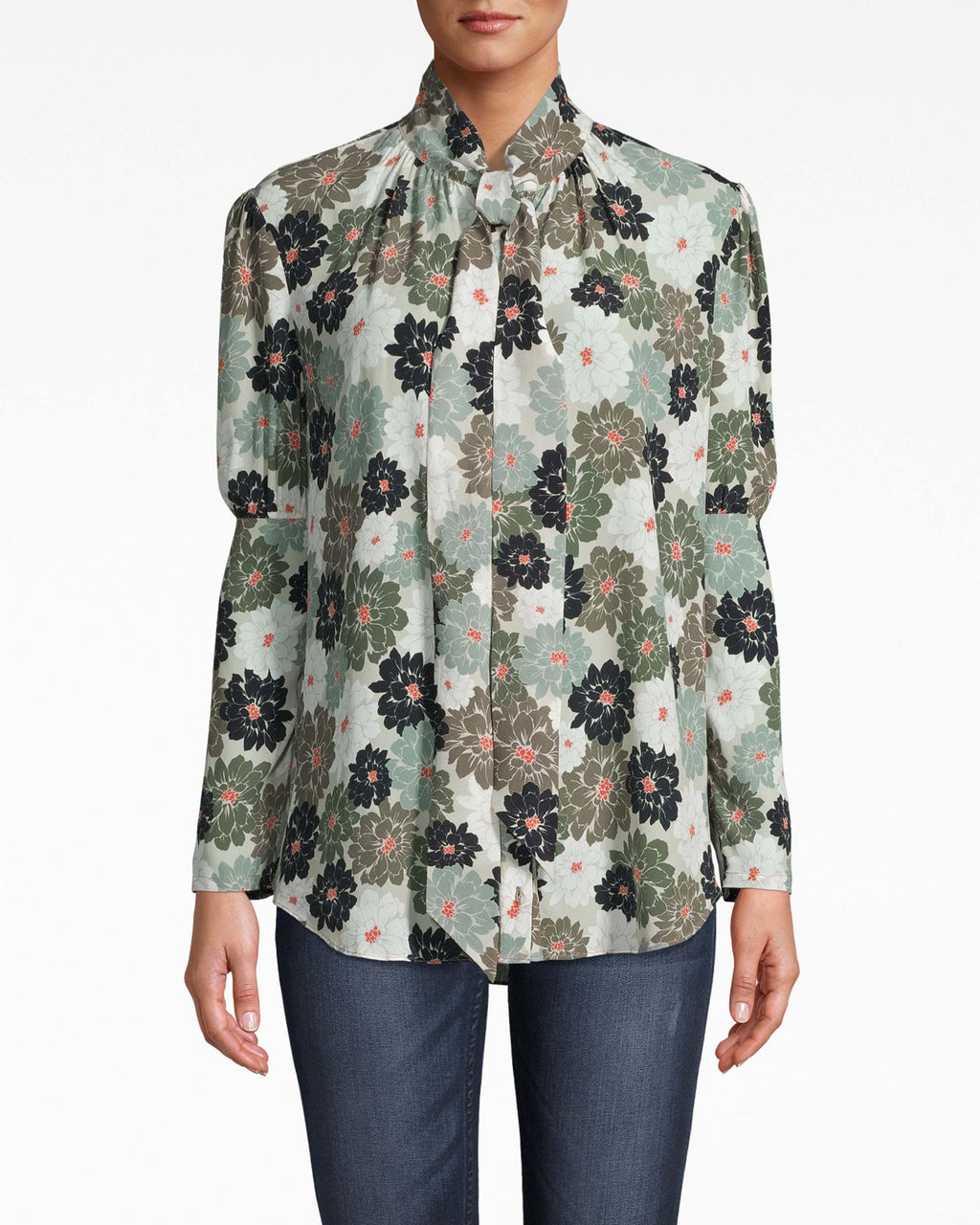 CT17988 - CAMO DELILAH SILK STOCK TIE BLOUSE - tops - blouses - THIS LIGHTWEIGHT SILK TOP IS PERFECT FOR EASING FROM SUMMER TO FALL. THIS STATEMENT PIECE HAS PUFF SLEEVES WITH A PRETTY TIE COLLAR. Add 1 line break STYLIST TIP: WEAR UNBUTTONED WITH JEANS FOR A CASUAL LOOK OR BUTTON UP FOR FORMAL AFFAIRS.