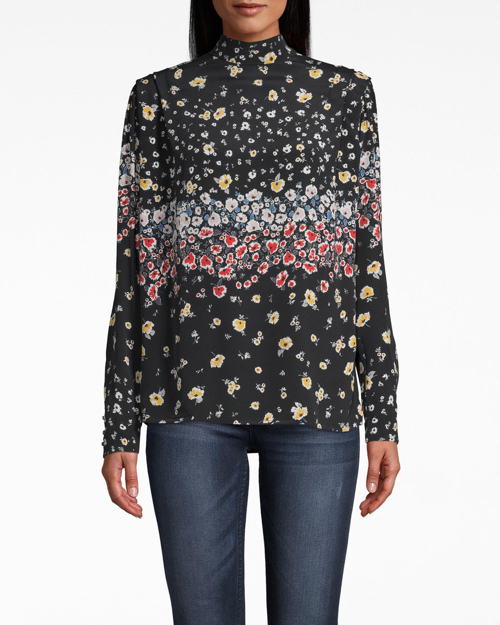 CT18041 - ASHBURY FLORAL SILK BLOUSE W/ SHOULDER FLANGE - tops - blouses - THIS MOCK NECK LONG SLEEVE FEATURES A SLIGHT PADDED SHOULDER WITH PLEATED DETAIL. DESIGNED IN OUR NEW FALL FLORAL, THIS TOP PAIRS WELL WITH EVERYTHING FROM JEANS TO LEATHER SKIRTS. Add 1 line break STYLIST TIP: STYLE WITH CHUNKY GOLD HOOPS.