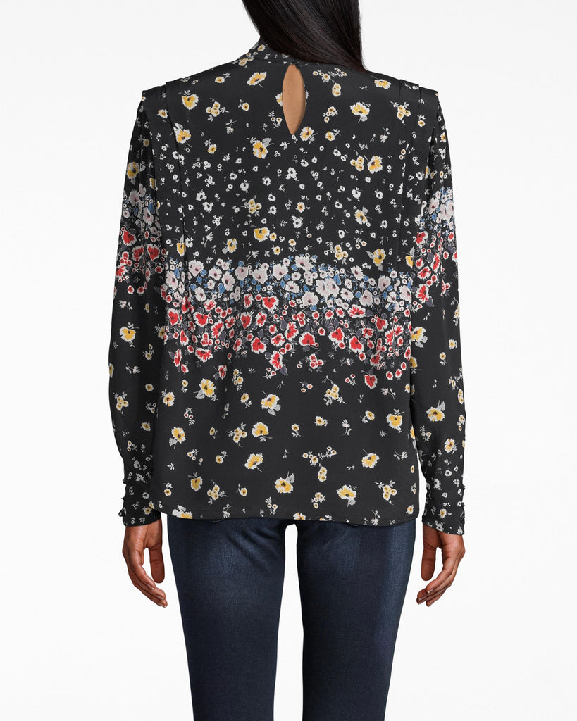 CT18041 - ASHBURY FLORAL SILK BLOUSE W/ SHOULDER FLANGE - tops - blouses - THIS MOCK NECK LONG SLEEVE FEATURES A SLIGHT PADDED SHOULDER WITH PLEATED DETAIL. DESIGNED IN OUR NEW FALL FLORAL, THIS TOP PAIRS WELL WITH EVERYTHING FROM JEANS TO LEATHER SKIRTS. Add 1 line break STYLIST TIP: STYLE WITH CHUNKY GOLD HOOPS. Alternate View