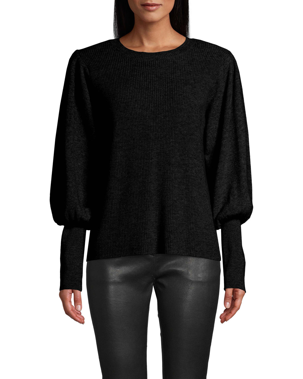 CT18043 - CASHMERE CREW NECK SWEATER W/ PADDED SHOULDER - tops - knitwear - THIS CASHMERE SWEATER IS A CLOSET ESSENTIAL. FEATURES A CHIC PUFFED SLEEVE, RIBBED CUFFS AND CLASSIC CREW NECK. Add 1 line break STYLIST TIP: PAIR WITH JEANS AND FASHION SNEAKERS FOR A CASUAL, DAYTIME LOOK.