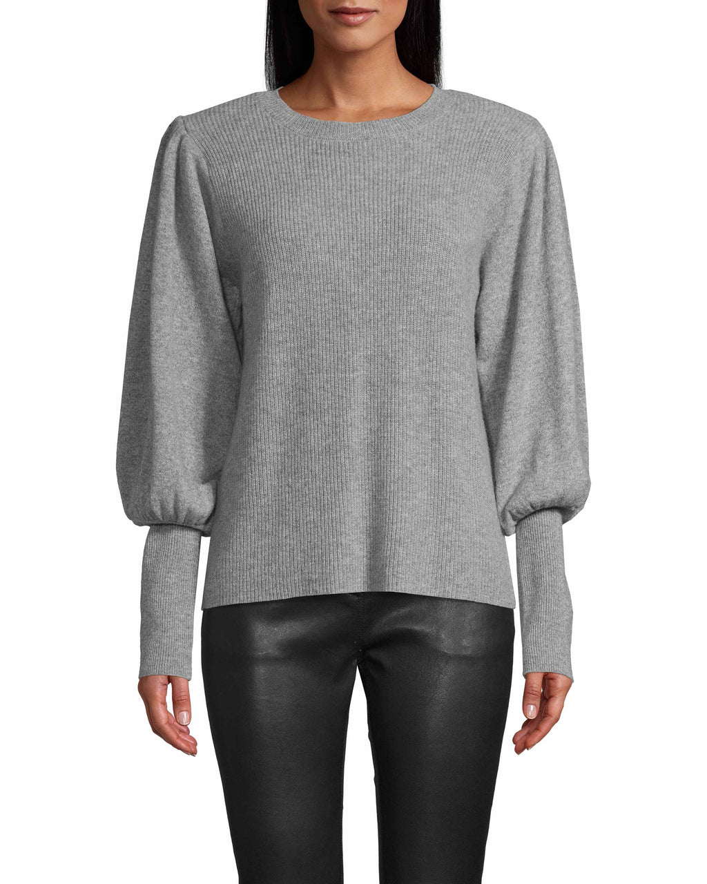 CT18043 - CASHMERE CREW NECK PADDED SHOULDER SWEATER - tops - knitwear - THIS CASHMERE SWEATER IS A CLOSET ESSENTIAL. FEATURES A CHIC PUFFED SLEEVE, RIBBED CUFFS AND CLASSIC CREW NECK. Add 1 line break STYLIST TIP: PAIR WITH JEANS AND FASHION SNEAKERS FOR A CASUAL, DAYTIME LOOK.