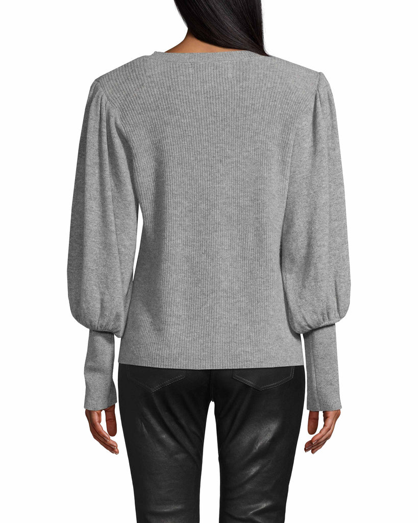 CT18043 - CASHMERE CREW NECK PADDED SHOULDER SWEATER - tops - knitwear - THIS CASHMERE SWEATER IS A CLOSET ESSENTIAL. FEATURES A CHIC PUFFED SLEEVE, RIBBED CUFFS AND CLASSIC CREW NECK. Add 1 line break STYLIST TIP: PAIR WITH JEANS AND FASHION SNEAKERS FOR A CASUAL, DAYTIME LOOK. Alternate View