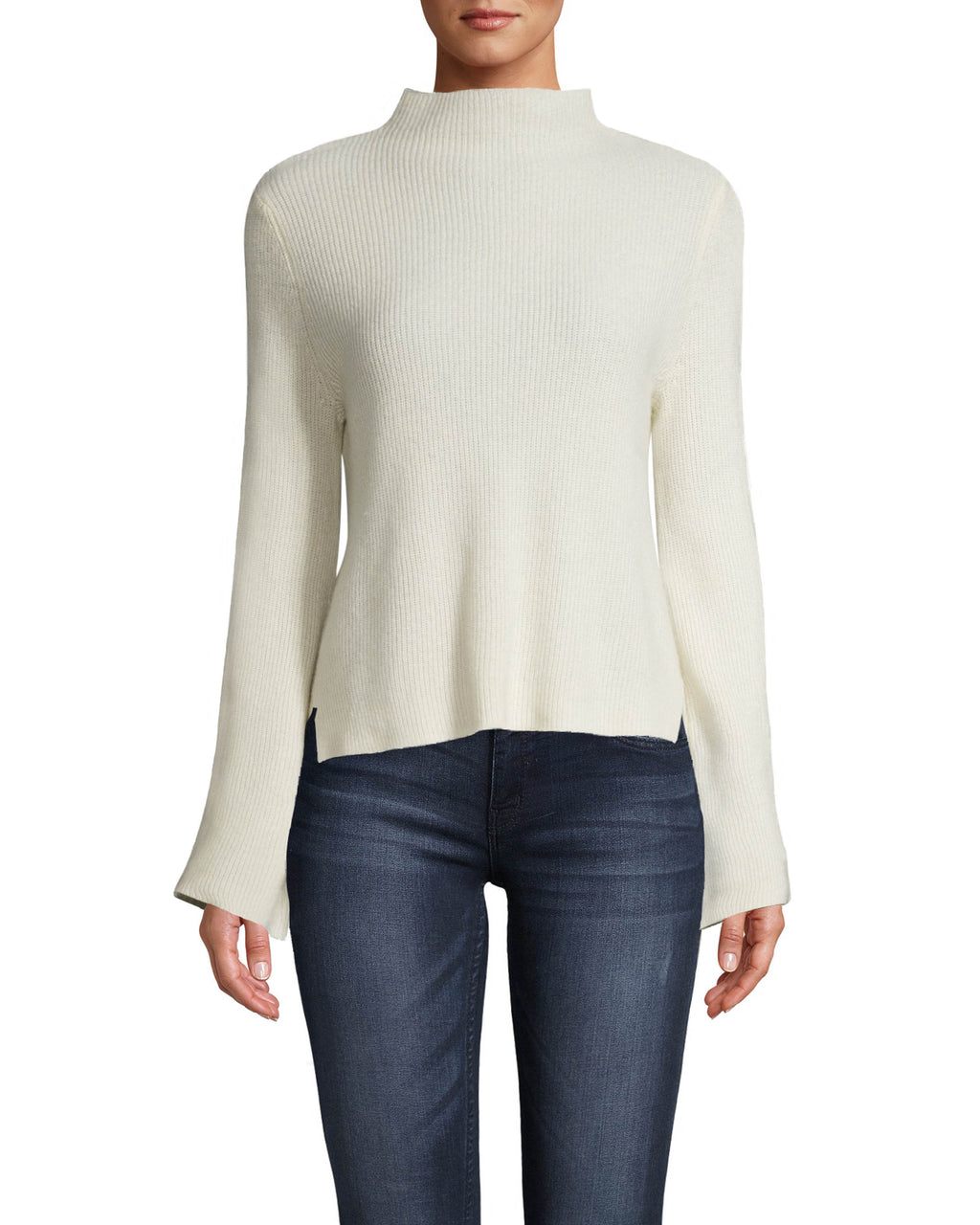 CT18048 - CASHMERE MOCK NECK SWEATER - tops - knitwear - OUR CASHMERE MOCK NECK SWEATER WILL BE ON REPEAT ALL FALL LONG. FEATURING A MOCK NECK, SLIGHT BELL SLEEVES AND A SUBTLE HI-LO HEM. Add 1 line break STYLIST TIP: WEAR THIS COZY SWEATER WHILE LOUNGING AT HOME FOR A CHIC LOUNGE LOOK.