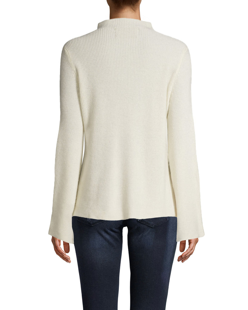 CT18048 - CASHMERE MOCK NECK SWEATER - tops - knitwear - OUR CASHMERE MOCK NECK SWEATER WILL BE ON REPEAT ALL FALL LONG. FEATURING A MOCK NECK, SLIGHT BELL SLEEVES AND A SUBTLE HI-LO HEM. Add 1 line break STYLIST TIP: WEAR THIS COZY SWEATER WHILE LOUNGING AT HOME FOR A CHIC LOUNGE LOOK. Alternate View