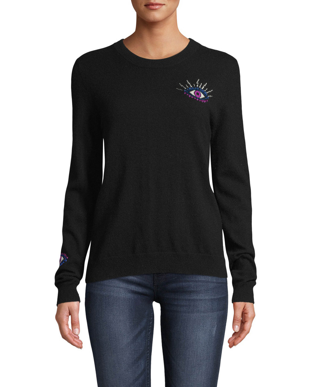 CT18054 - CASHMERE CREW NECK EVIL EYE SWEATER - tops - knitwear - This 100% cashmere sweater features our beloved evil eye motif on the front, back and sleeve. Designed in a classic crew neck silhouette. Add 1 line break Stylist tip: Wear with denim for a casual but cool outfit.