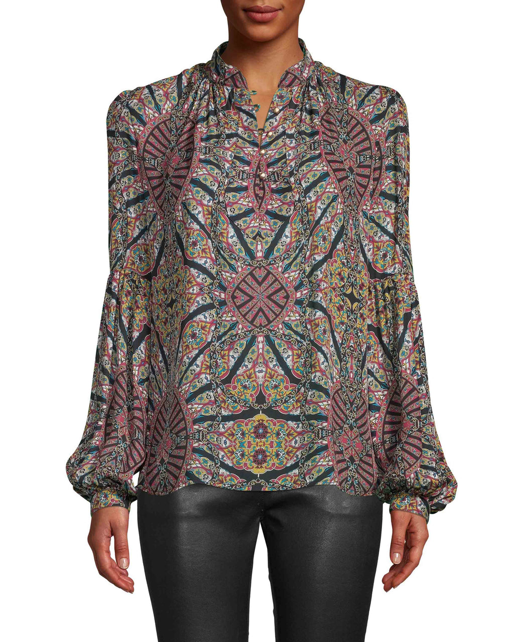 CT18085 - LABYRINTH SILK FRONT YOKE BLOUSE - tops - blouses - Designed in our new labryrinth pattern in airy silk, this blouse features an on-trend yoke neckline, gold buttons and balloon sleeves. Add 1 line break Stylist tip: Pair with anything leather - pants, jacket or skirt - for a standout fall look.