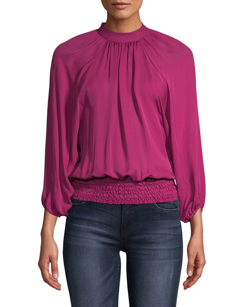 CT18156 - SILK SMOCKED WAIST BLOUSE - tops - blouses - The ultimate fall top for transitioning from day to night. Crafted in lightweight silk, this blouse features a smocked wasit and cuffs and a high neck. Add 1 line break Stylist tip: Pair with one of our blazers for day and wear solo for night.
