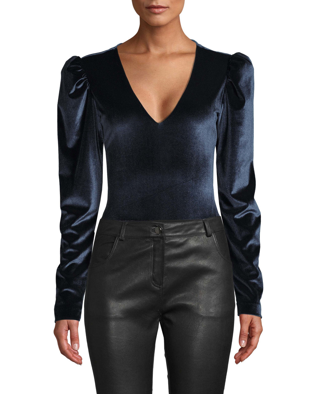 CT18189 - STRETCH VELVET PUFF SLEEVE BODYSUIT - tops - shirts - Puff sleeves are the statement of the season. This easy style is designed in soft velvet and features a deep v neck. Add 1 line break Stylist tip: Pair with our leather mini skirt.
