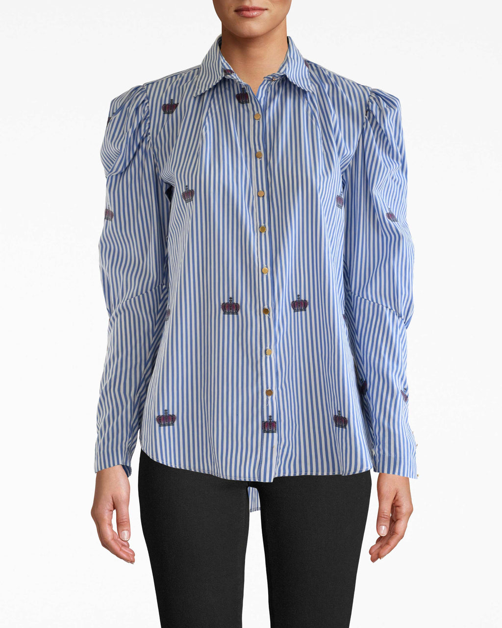 CT18192 - CROWN STRIPE PUFF SLEEVE BOYFRIEND TOP - tops - blouses - Straight from the fall 2020 runway, this crown stripe boyfriend blouse features crown motifs on a classic blue and white stripe with slightly puffed sleeves. Add 1 line break Stylist Tip: Style with denim shorts and white sneakers.