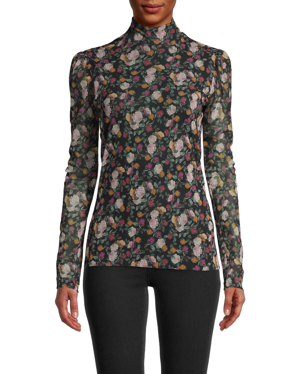 CT18197 - PRINTED MESH LONG SLEEVE MOCK NECK TOP - tops - shirts - Designed in lightweight mesh, this printed top has a slight mock neck, long sleeves and is perfect for layering. Add 1 line break Stylist tip: Wear with your favorite jeans and a leather jacket for an edgy, stylish outfit.