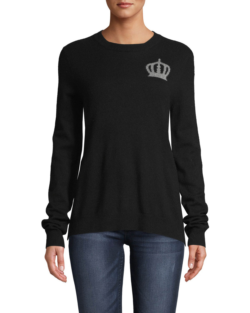 CT18211 - CROWN CREW NECK SWEATER - tops - knitwear - Taking inspiration from our Fall 2020 Runway, this 100% cashmere sweater features crown motifs on the front and back. Designed in a classic crew neck silhouette. Add 1 line break Stylist tip: Wear with black denim for an edgy but laidback look.