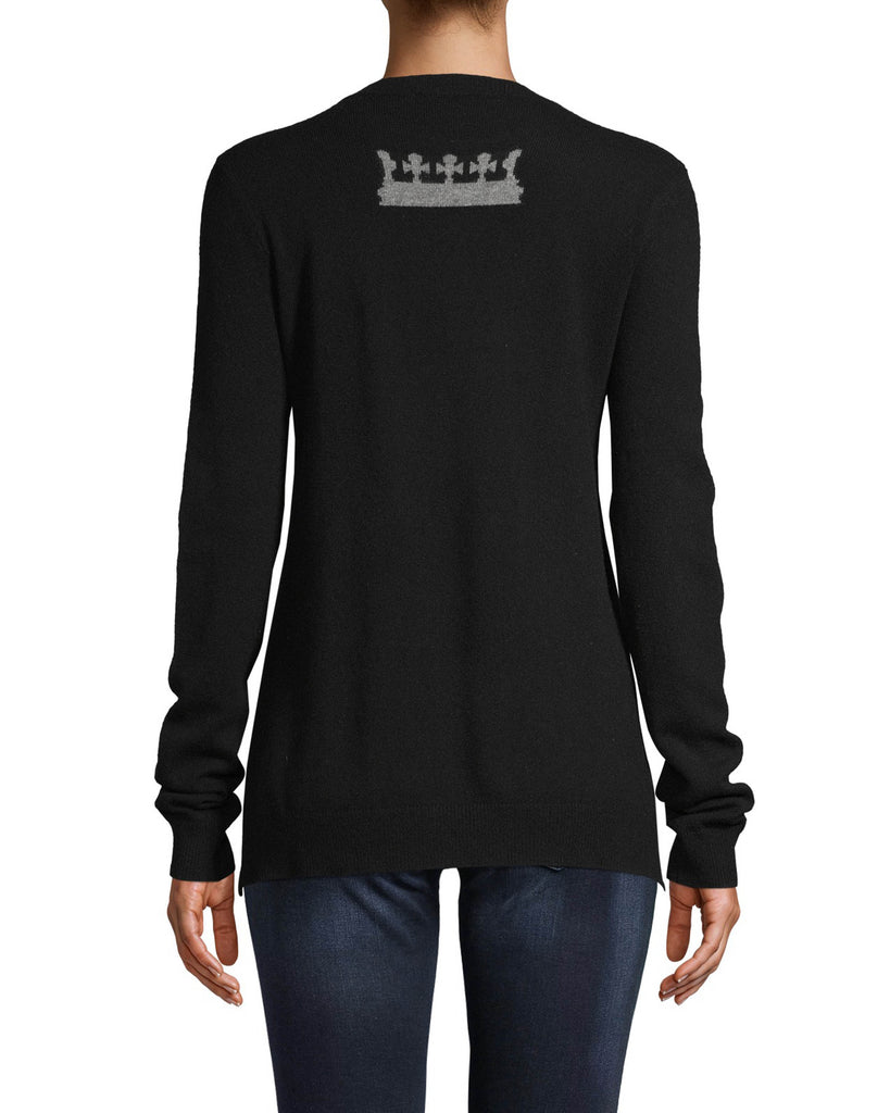 CT18211 - CROWN CREW NECK SWEATER - tops - knitwear - Taking inspiration from our Fall 2020 Runway, this 100% cashmere sweater features crown motifs on the front and back. Designed in a classic crew neck silhouette. Add 1 line break Stylist tip: Wear with black denim for an edgy but laidback look. Alternate View