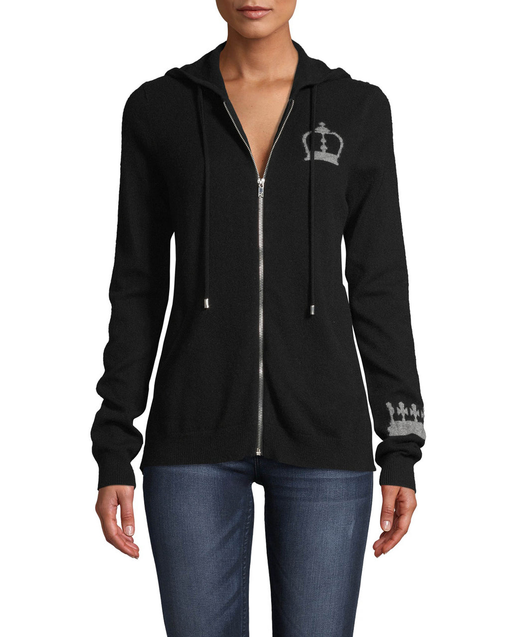 CT18214 - CASHMERE CROWN HOODIE - tops - knitwear - Wear your crown on your sleeve with this cozy style. Crafted from 100% cashmere, this zip up hoodie will be on repeat all fall long. Add 1 line break Stylist tip: Pair with your most loved jeans for a comfortable yet stylish outfit.