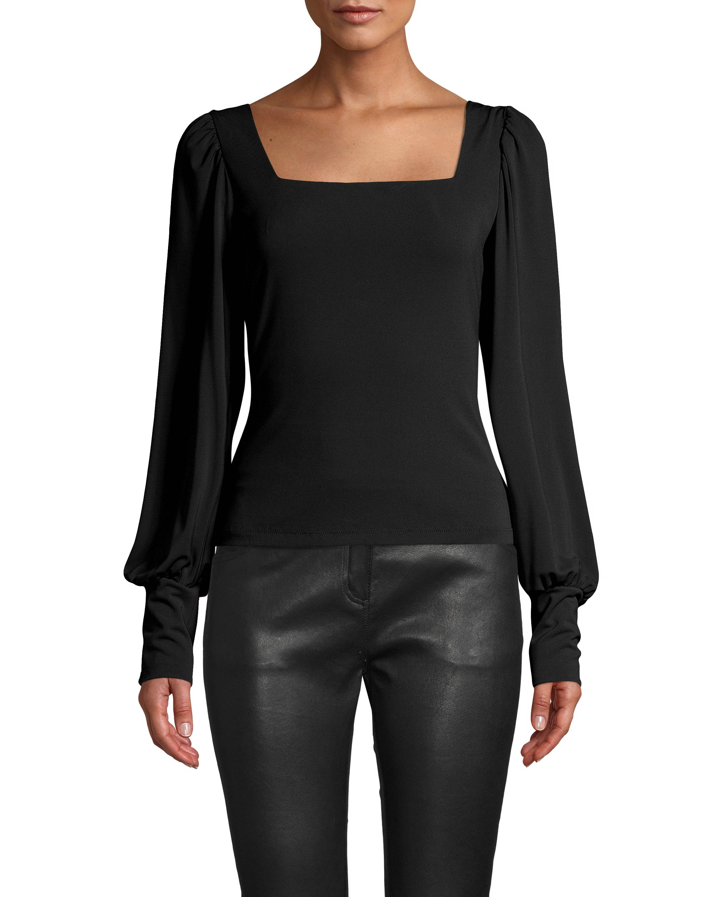 nicole miller stretchy matte jersey square neck blouse in black | polyester/spandex/acetate | size petite