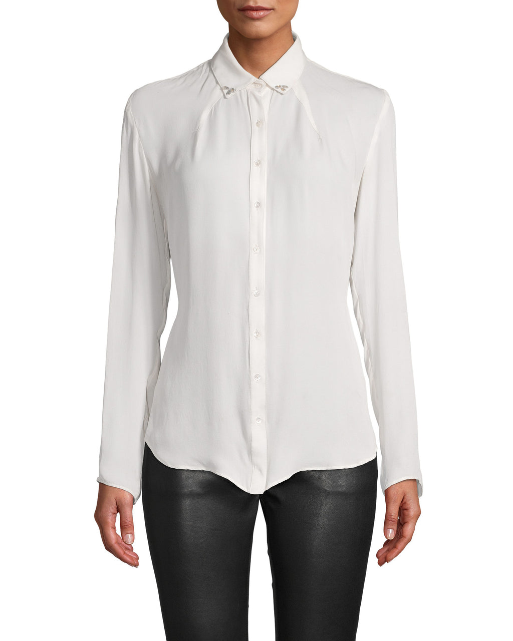 CT18217 - CHARMEUSE BOYFRIEND BLOUSE WITH CRYSTALS - tops - blouses - Boyfriend blouse, upgraded. This classic silhouette gets a feminine upgrade with Swarovski crystal accents at the collar. This thin charmeuse top is silky smooth and can be dressed up or down. Add 1 line break Stylist tip: wear under a blazer for an upgraded office look.