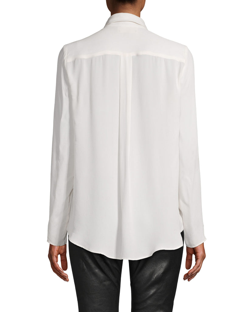 CT18217 - CHARMEUSE BOYFRIEND BLOUSE WITH CRYSTALS - tops - blouses - Boyfriend blouse, upgraded. This classic silhouette gets a feminine upgrade with Swarovski crystal accents at the collar. This thin charmeuse top is silky smooth and can be dressed up or down. Add 1 line break Stylist tip: wear under a blazer for an upgraded office look. Alternate View