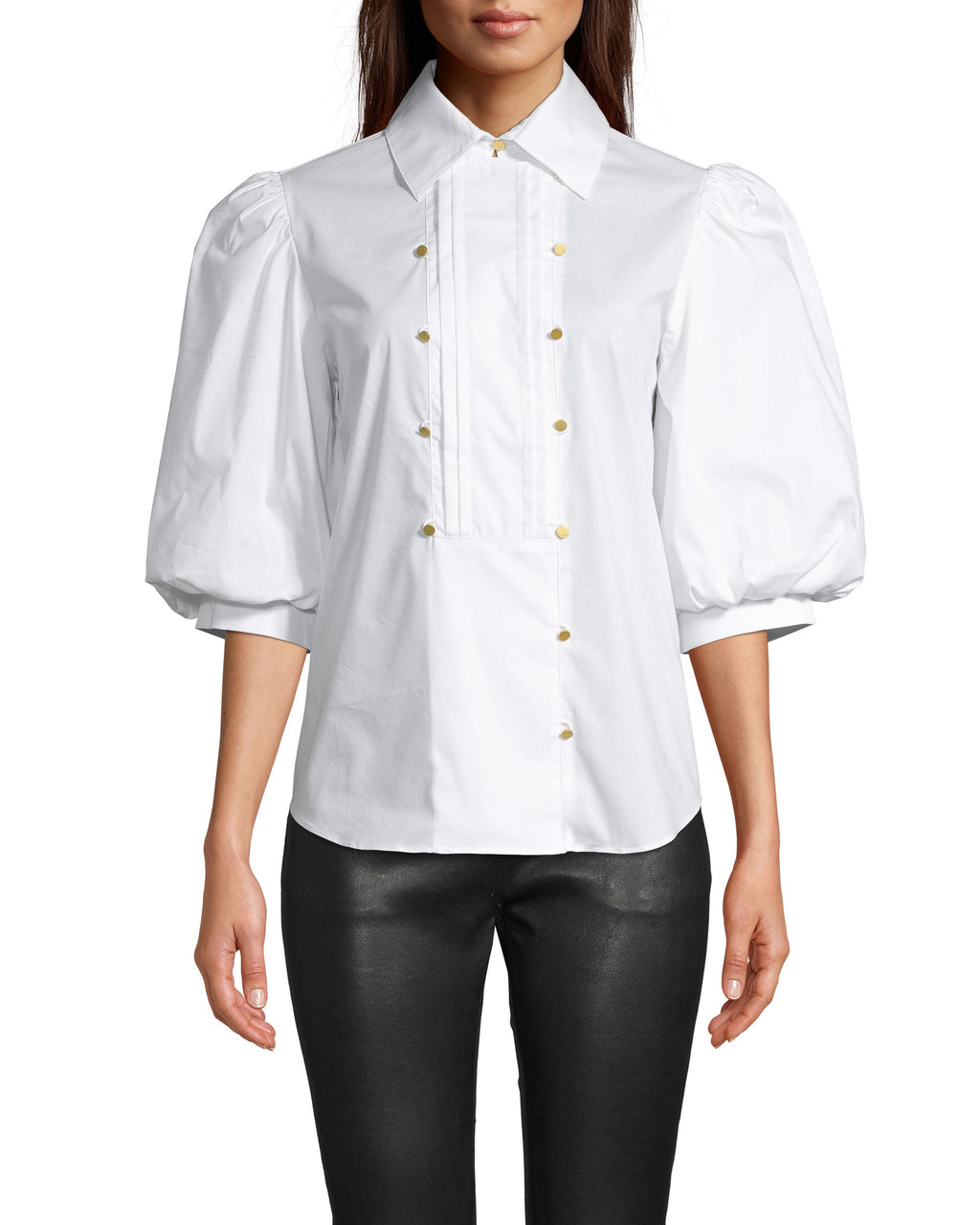 CT18266 - COTTON POPLIN TUXEDO PUFF SLEEVE BLOUSE - tops - blouses - As seen on our fall 2020 runway, this blouse features a tuxedo front with asymmetrical gold button detail and cuffed puffed sleeves. Add 1 line break Stylist Tip: Pair with leather bottoms for an edgyensemble.