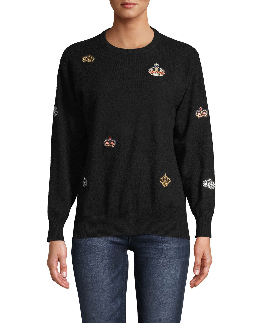 CT18276 - CASHMERE CREW NECK SWEATER W/ CROWN PATCHES - tops - knitwear - As if our 100% cashmere sweater didn't make you feel luxurious already, this one has shimmery crown patches throughout for an extra luxe feel. Designed in a classic crew neck silhouette with ribbed sleeves. Add 1 line break Stylist tip: Pair with black denim and a leather jacket.