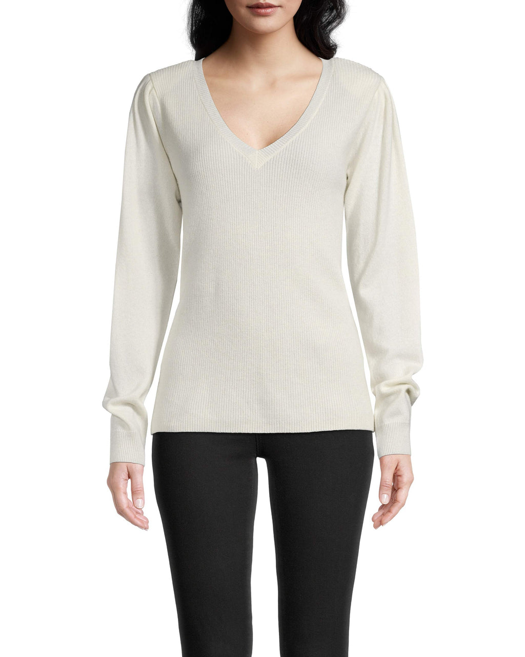 CT18309 - CASHMERE PUFF SLEEVE V NECK SWEATER - tops - knitwear - A v-neck sweater is a closet essential and this one is no exception. Made from 100% cashmere, this ultra soft piece has a slight puff sleeve for feminine detail and a classic v neckline. Designed in an array of colors to perfectly match with everything already in your closet. Add 1 line break Stylist tip: Pair with our mesh maxi skirt and sneakers for a chic, daytime look.