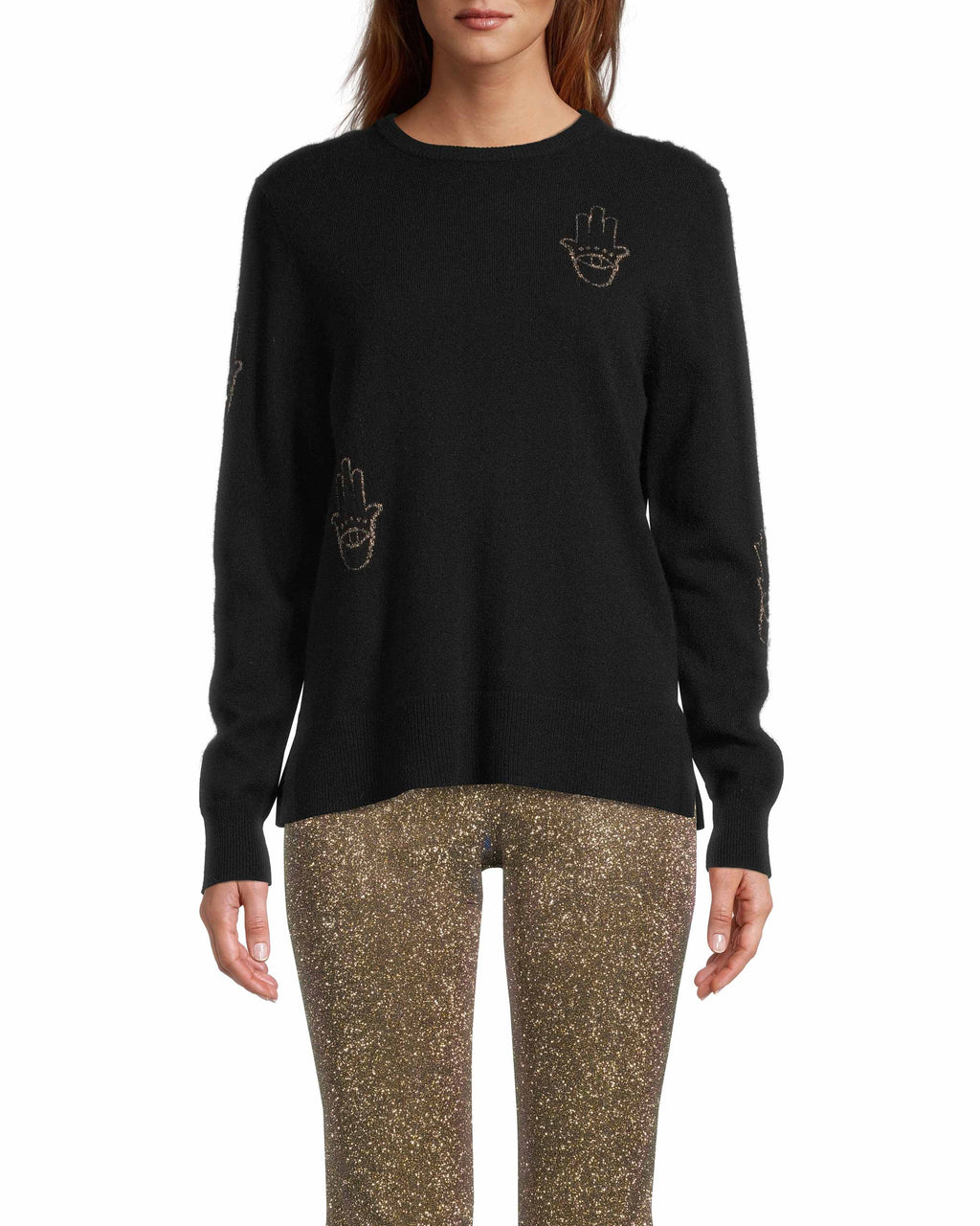 CT18318 - HAMSA LONG SLEEVE SWEATER - tops - knitwear - This sweater is designed in a classic crew neck silhouette with gold threaded hamsas throughout. The Hamsa is a universal protectvie sign that brings happiness, luck and health to its owner. Add 1 line break Stylist tip: Style with your favorite denim for a laidback but elevated look.