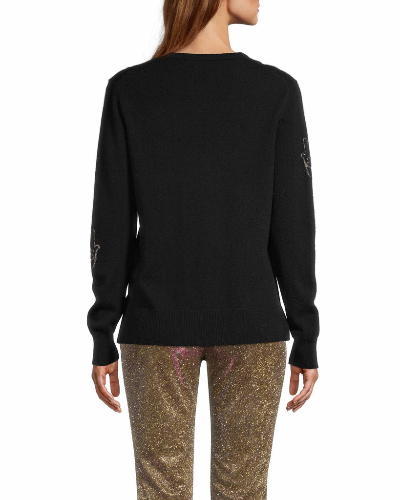CT18318 - HAMSA LONG SLEEVE SWEATER - tops - knitwear - This sweater is designed in a classic crew neck silhouette with gold threaded hamsas throughout. The Hamsa is a universal protectvie sign that brings happiness, luck and health to its owner. Add 1 line break Stylist tip: Style with your favorite denim for a laidback but elevated look. Alternate View