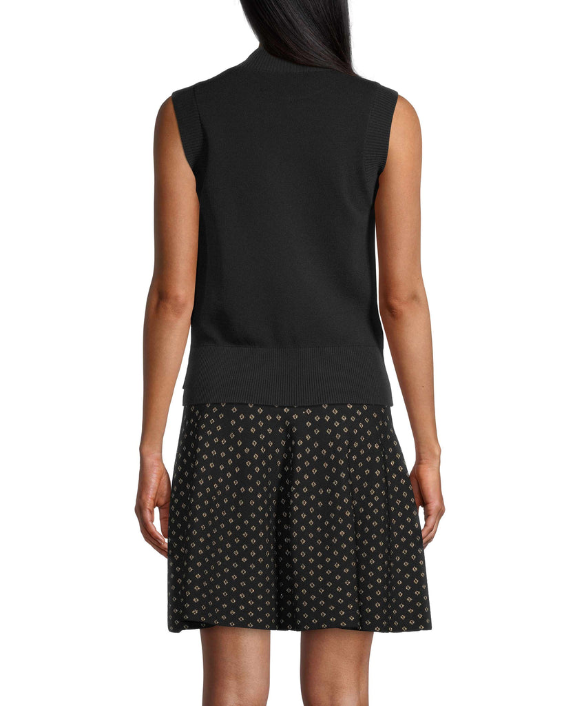 CT18319 - DIAMOND JACQUARD SLEEVELESS TOP - tops - blouses - This on trend sleeveless sweater is made from a thick knitted fabrication and features shimmery gold thread diamond detailing throughout. There is a slight mock neck and a ribbed hemline to flatter your silhouette. Add 1 line break Stylist tip: Pair with the matching skirt or black denim. Alternate View