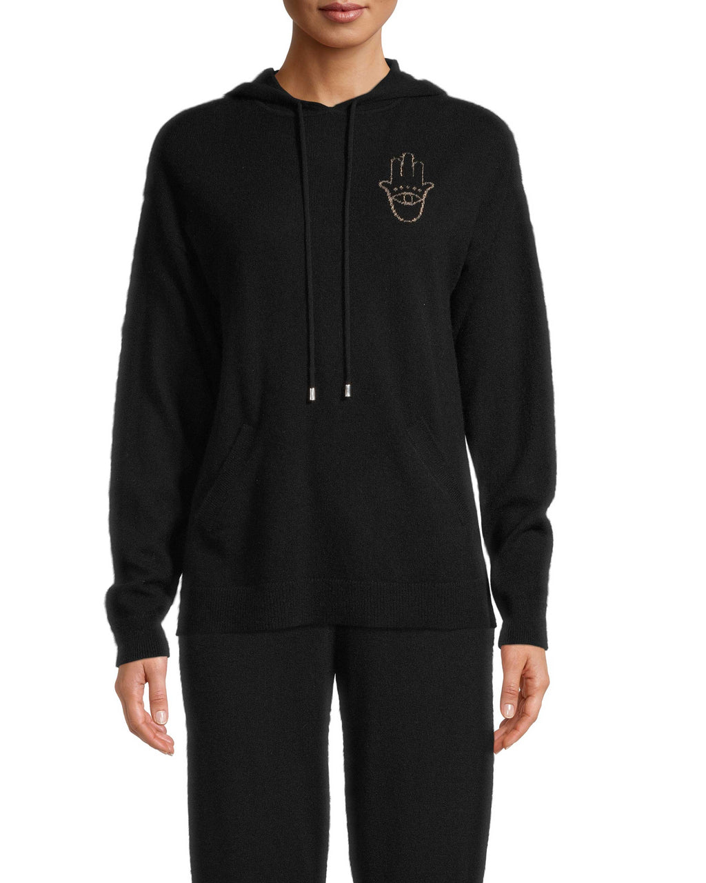 CT18335 - HAMSA HOODIE - tops - knitwear - Crafted from 100% cashmere, our cashmere hoodie is decorated with a shimmery gold threaded hamsa. The Hamsa is a universal protectvie sign that brings happiness, luck and health to its owner. Add 1 line break Stylist tip: Pair with our cashmere jogger for a complete cashmere lounge set.