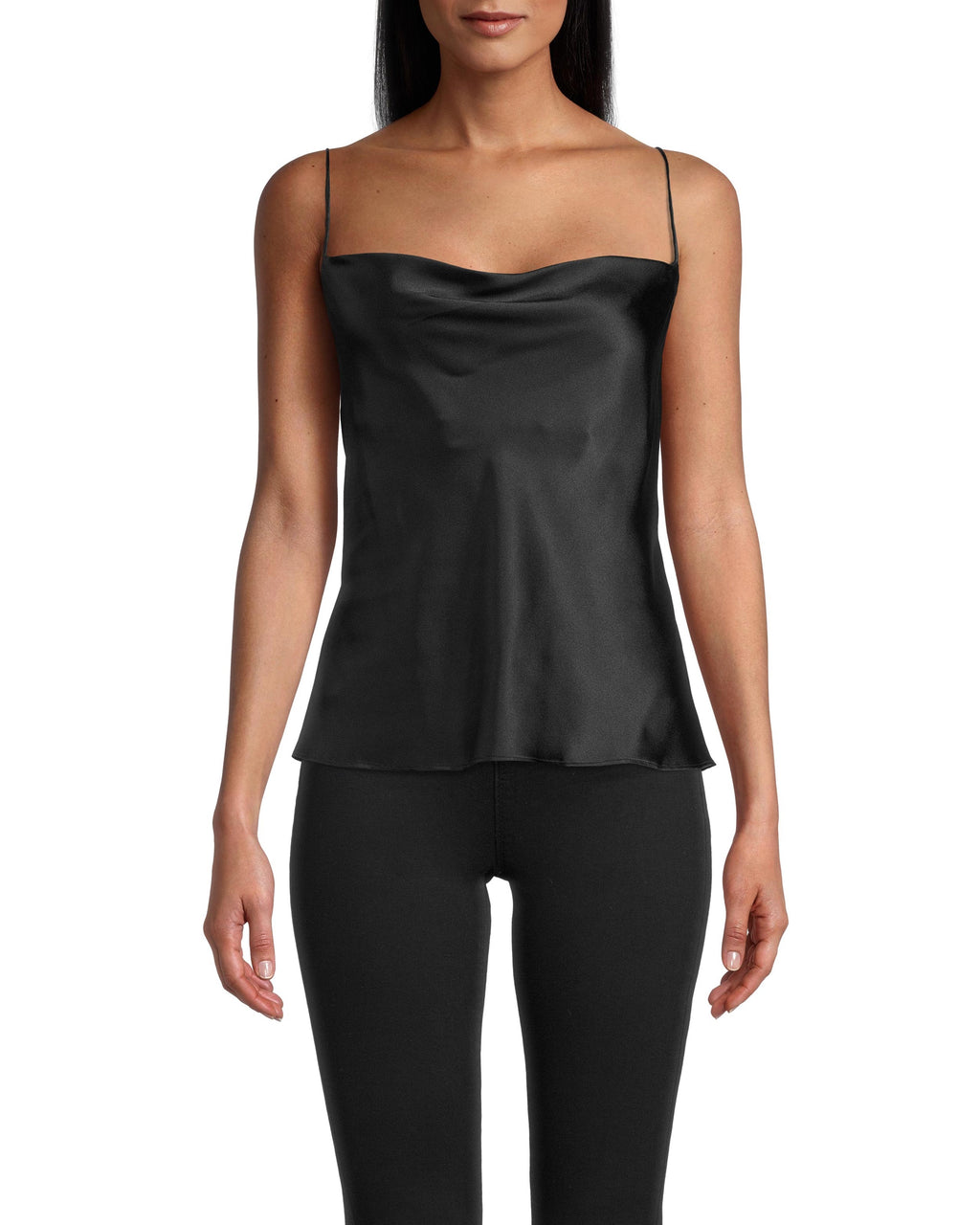 CT18362 - CROSS BACK CAMI - tops - shirts - Meet your new favorite date night top. This cami is designed from sleek silk and drapes perfectly to hug your curves. The spaghetti straps cross in the back for an added detail. Add 1 line break Stylist tip: Pair with one of our embellished leather jackets.