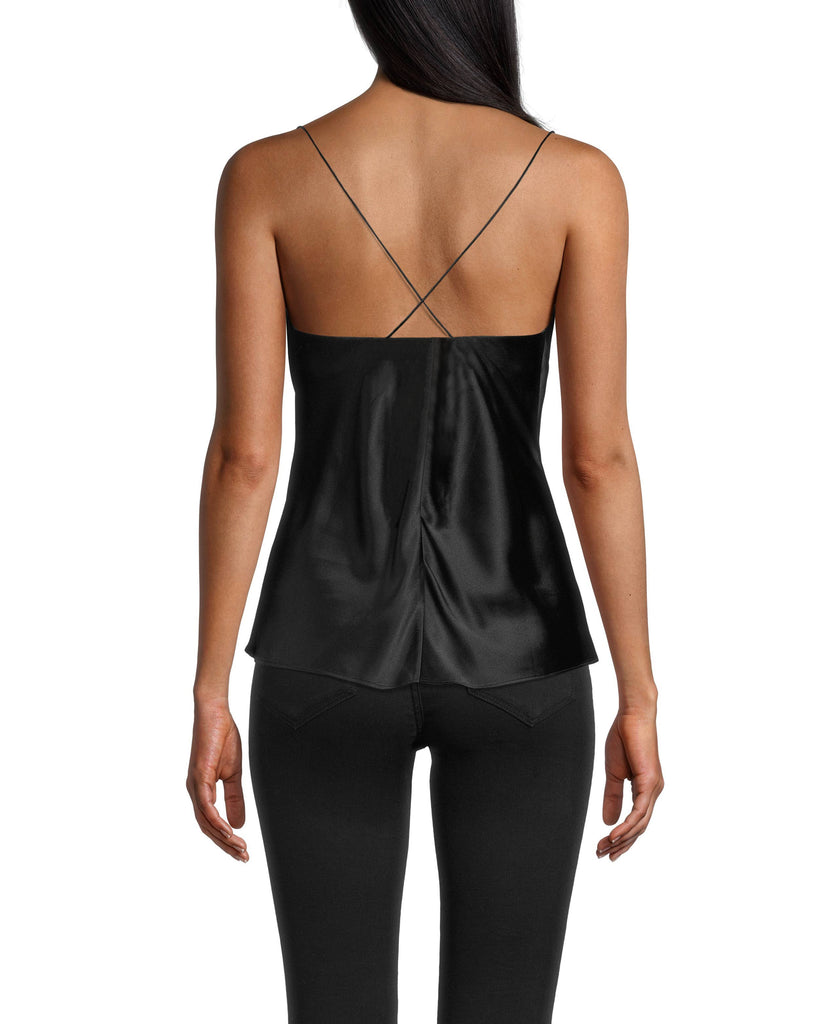 CT18362 - CROSS BACK CAMI - tops - shirts - Meet your new favorite date night top. This cami is designed from sleek silk and drapes perfectly to hug your curves. The spaghetti straps cross in the back for an added detail. Add 1 line break Stylist tip: Pair with one of our embellished leather jackets. Alternate View